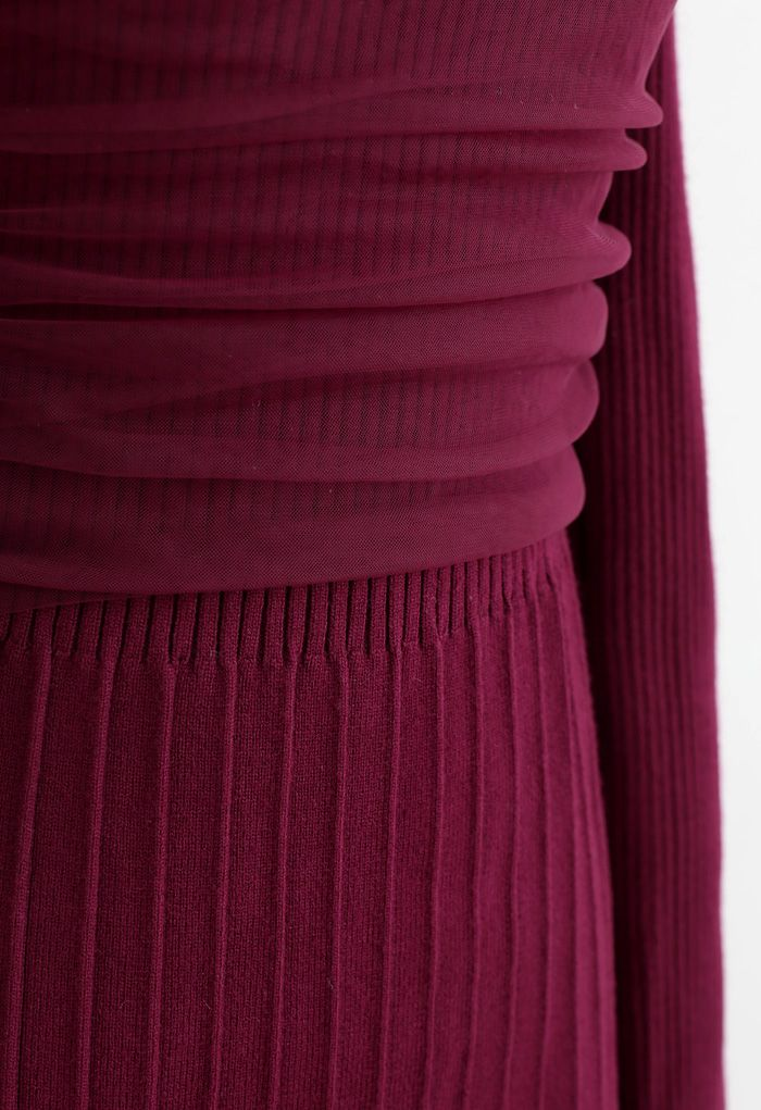 Mesh Overlay Square Neck Rib Knit Dress in Wine