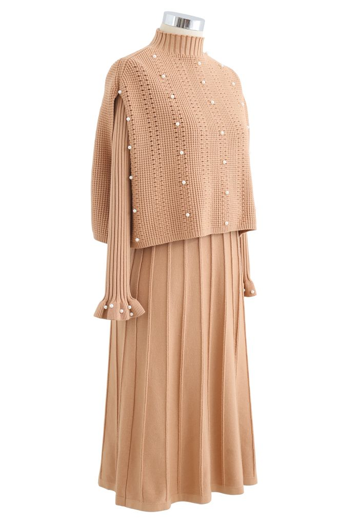 Pearl Trim Pleated Knit Twinset Dress in Apricot