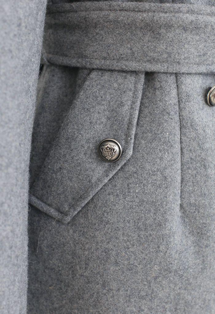 Grey Double-Breasted Wool-Blend Longline Coat