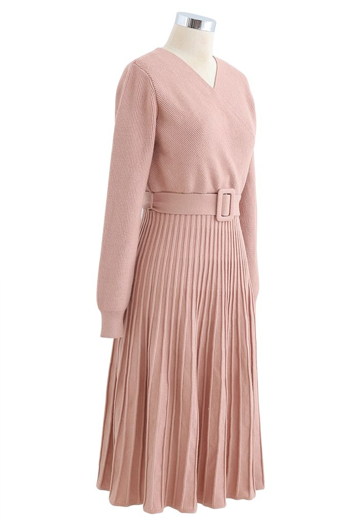 Belted Wrap Rib Knit Midi Dress in Coral