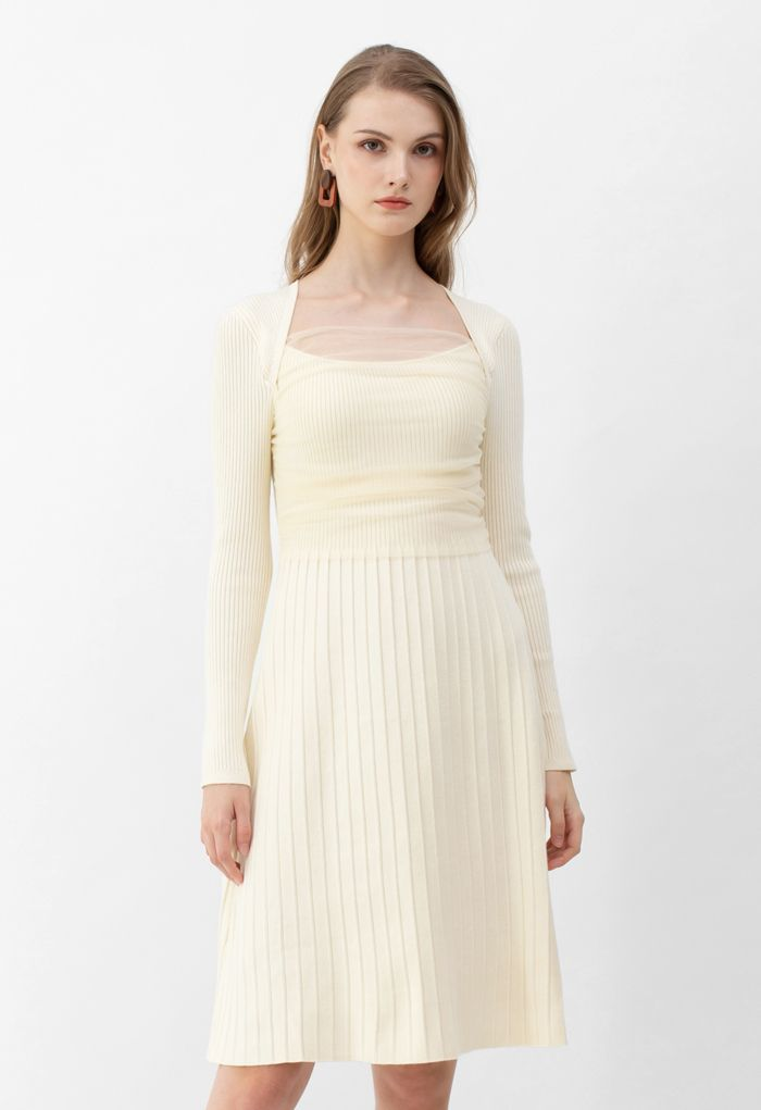 Mesh Overlay Square Neck Rib Knit Dress in Cream