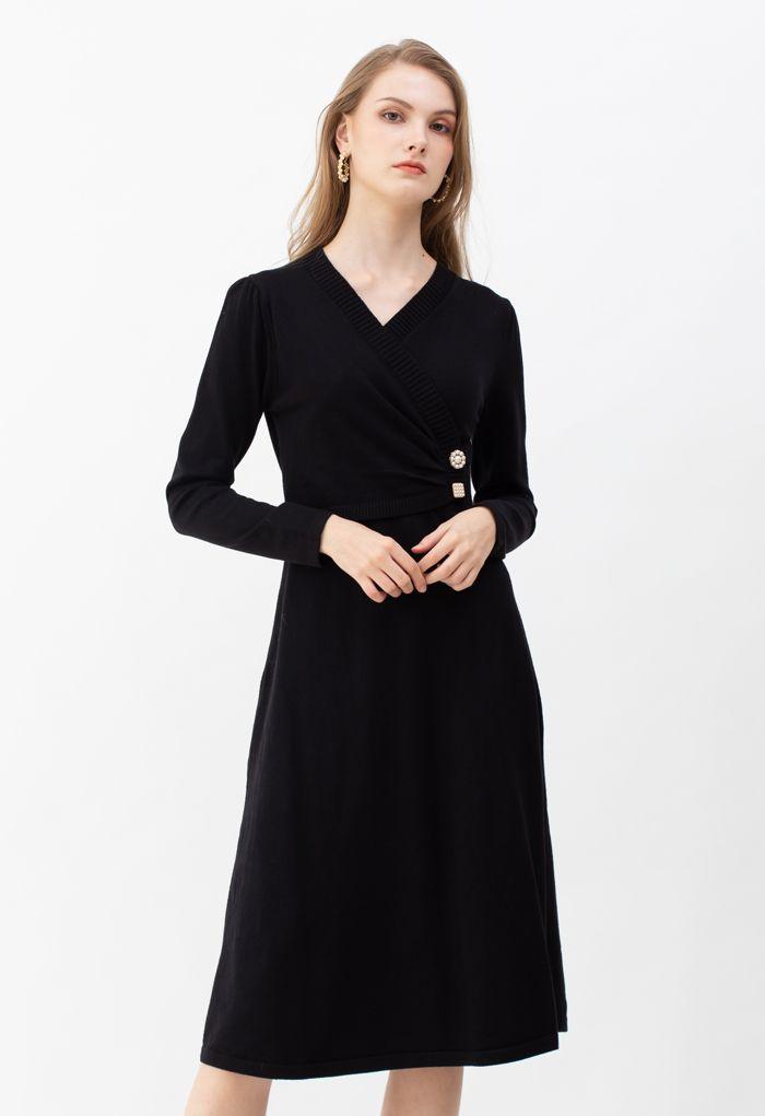 Pearl Button Wrap Knit Midi Dress in Black