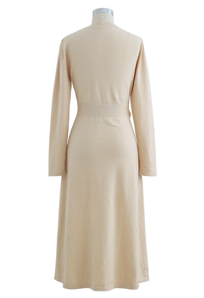 Pearl Button Wrap Knit Midi Dress in Cream