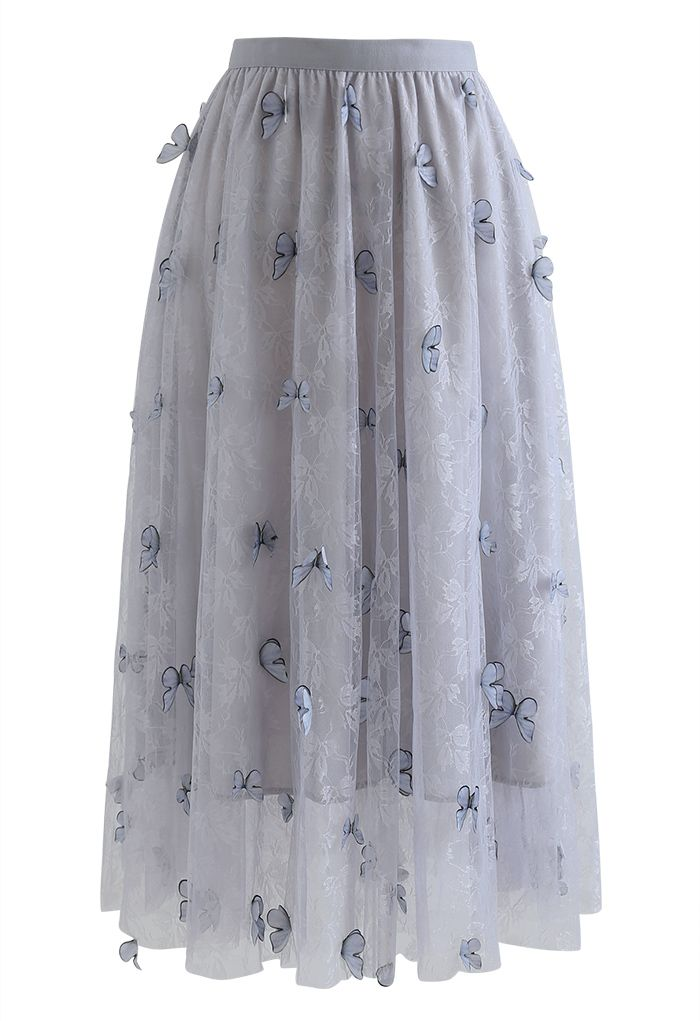 Double-Layered 3D Butterfly Lace Mesh Skirt in Grey