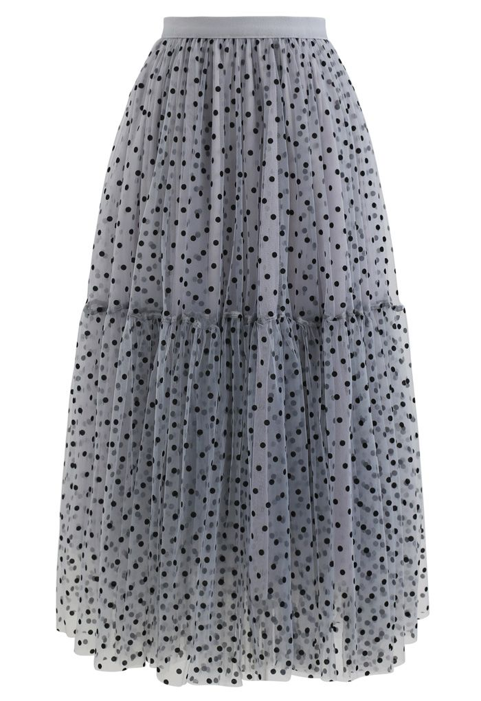 Can't Let Go Dots Mesh Tulle Skirt in Dusty Blue