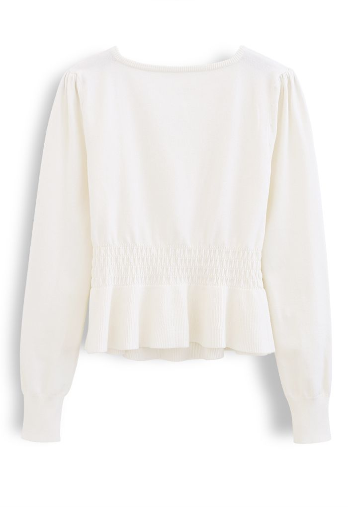 Pearl Square Neck Shirred Peplum Knit Top in White