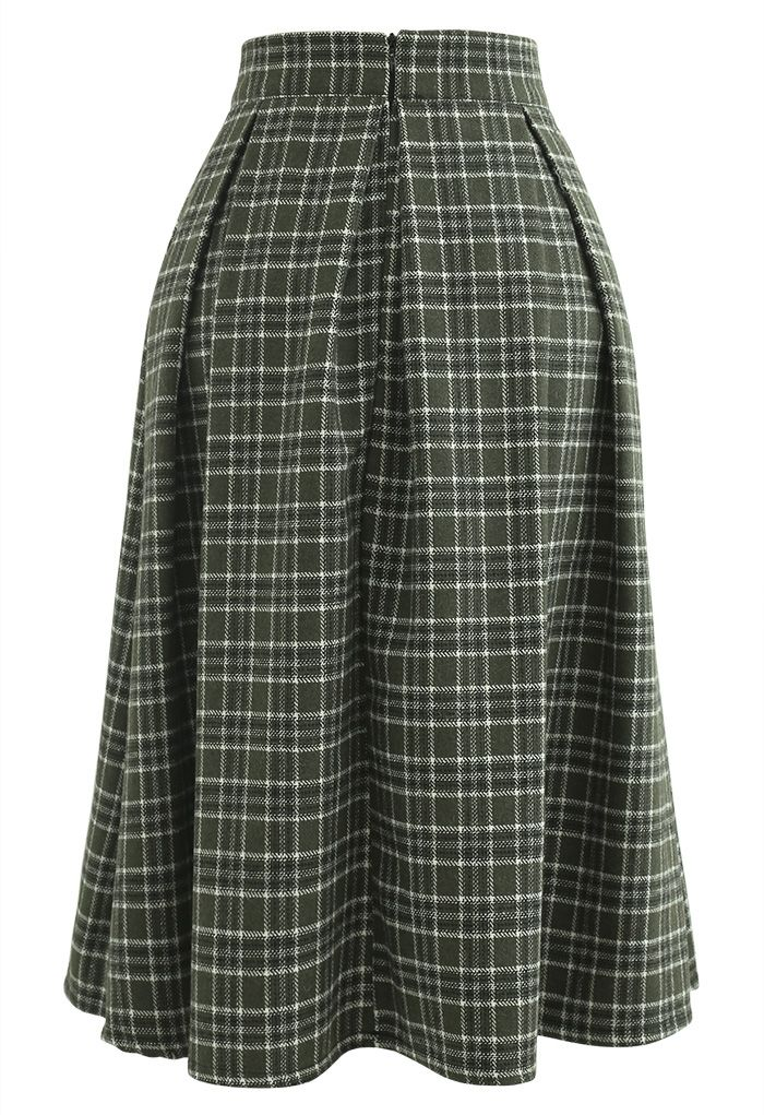 Wool-Blend Pleated Plaid Skirt in Dark Green
