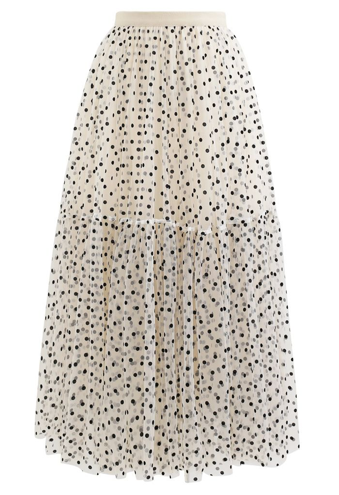 Can't Let Go Dots Mesh Tulle Skirt in Cream