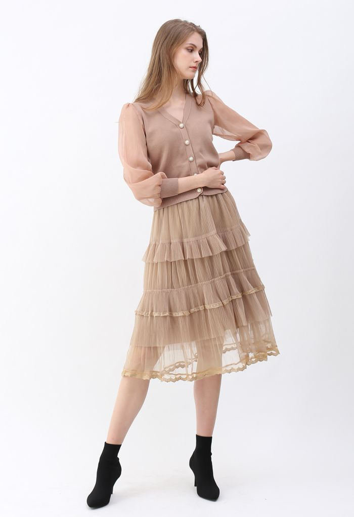 Button Down V-Neck Sheer Sleeves Knit Top in Dusty Pink