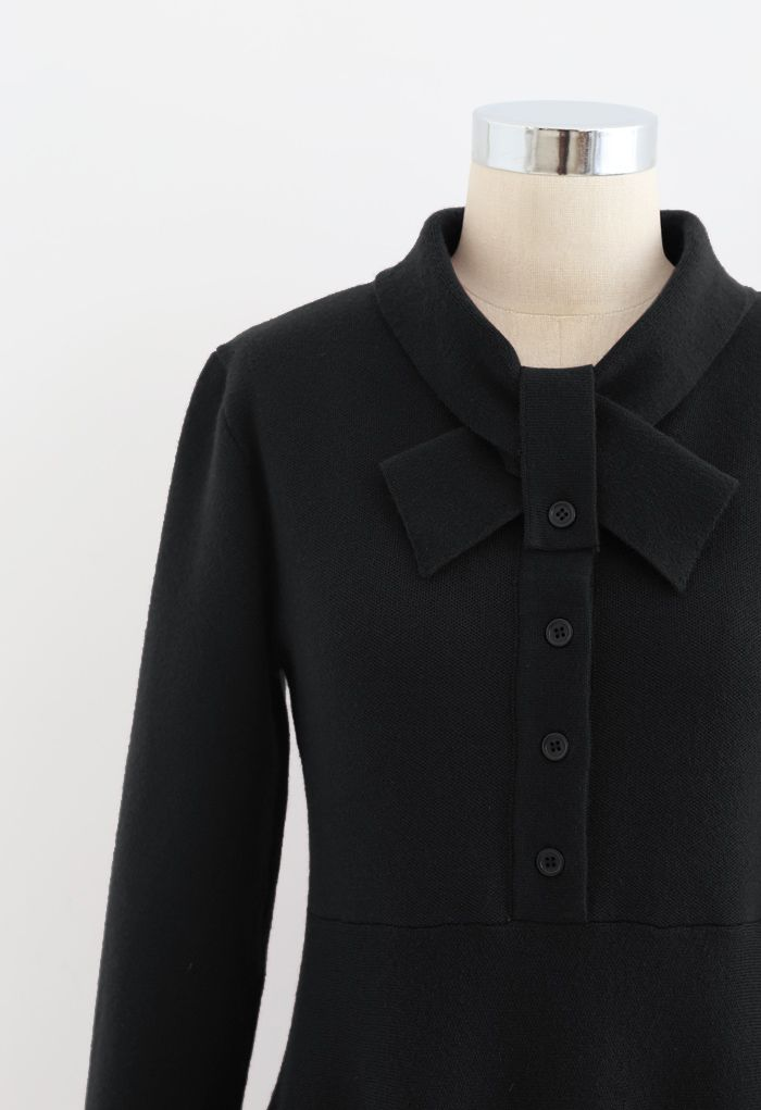 Knotted Neck Button Down Knit Dress in Black