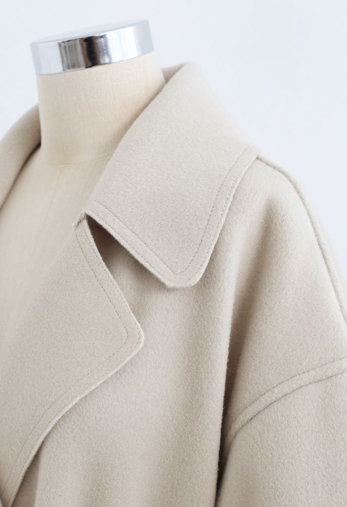 Belted Double-Breasted Wool-Blend Coat in Sand