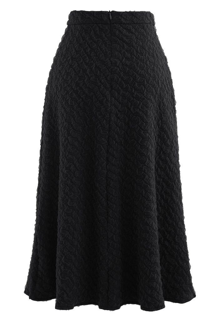 Embossed Mesh Flare Midi Skirt in Black