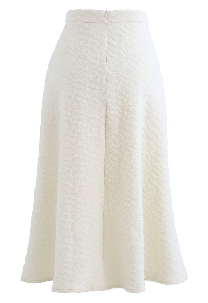 Embossed Mesh Flare Midi Skirt in White