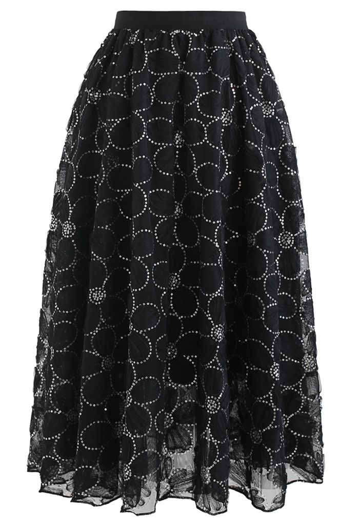 Floral Sequin Double-Layered Mesh Skirt in Black