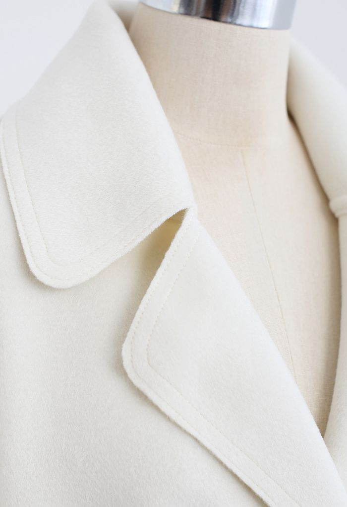 Belted Double-Breasted Wool-Blend Coat in Ivory