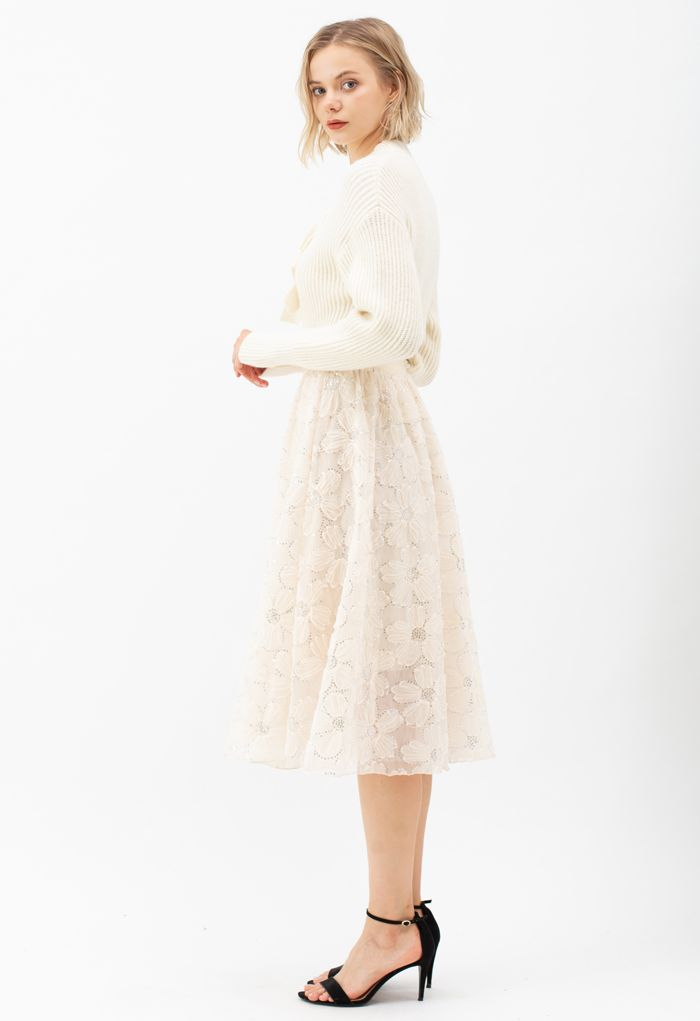 Floral Sequin Double-Layered Mesh Skirt in Cream