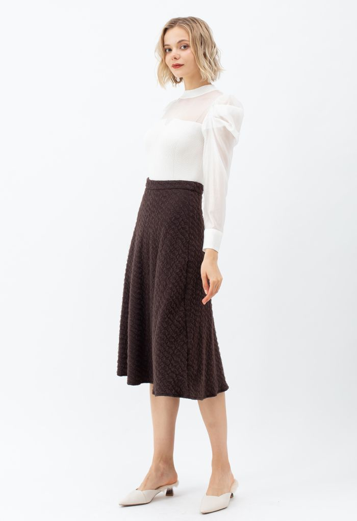 Embossed Mesh Flare Midi Skirt in Brown