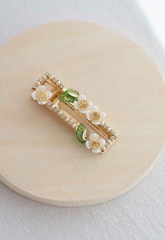 Blooming Floret Rectangle Hair Clip