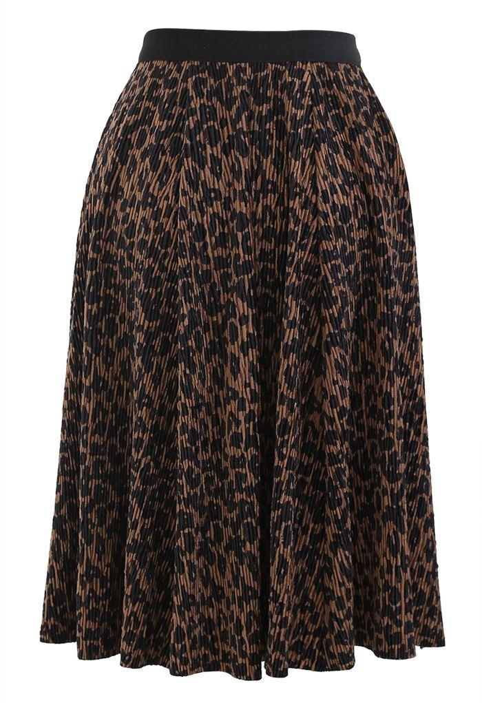 Leopard Print Corduroy Velvet Skirt in Brown