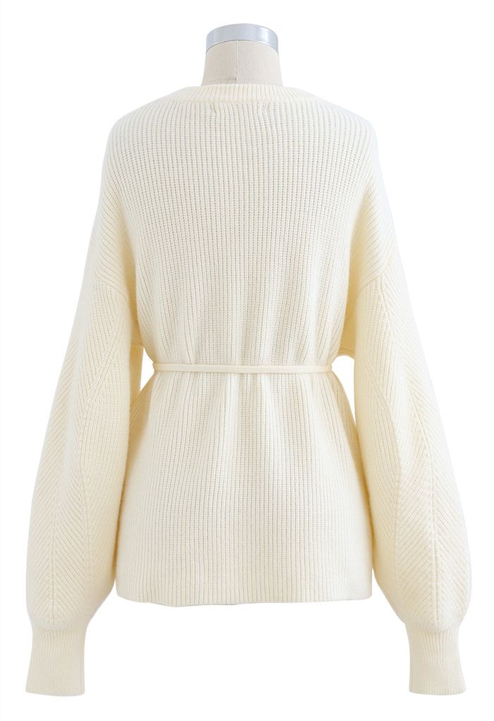 Cozy Ribbed Knit Sweater with String in Cream