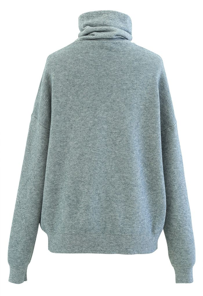 Basic Turtleneck Ribbed Knit Sweater in Green