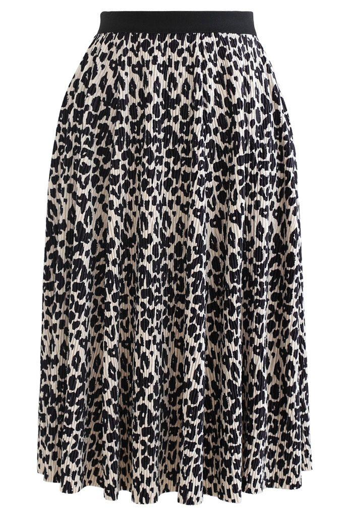 Leopard Print Corduroy Velvet Skirt in Cream