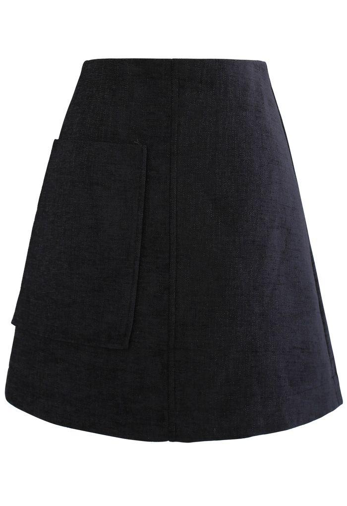 Patched Pocket Shimmer Tweed Mini Skirt in Black