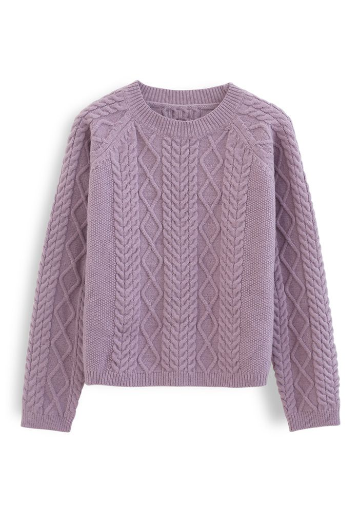 Braid Texture Cropped Knit Sweater in Lavender