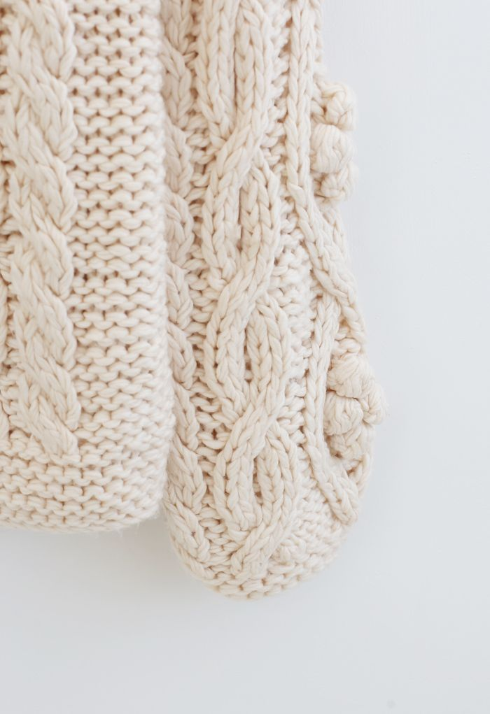 Braid Pom-Pom Hand-Knit Sweater