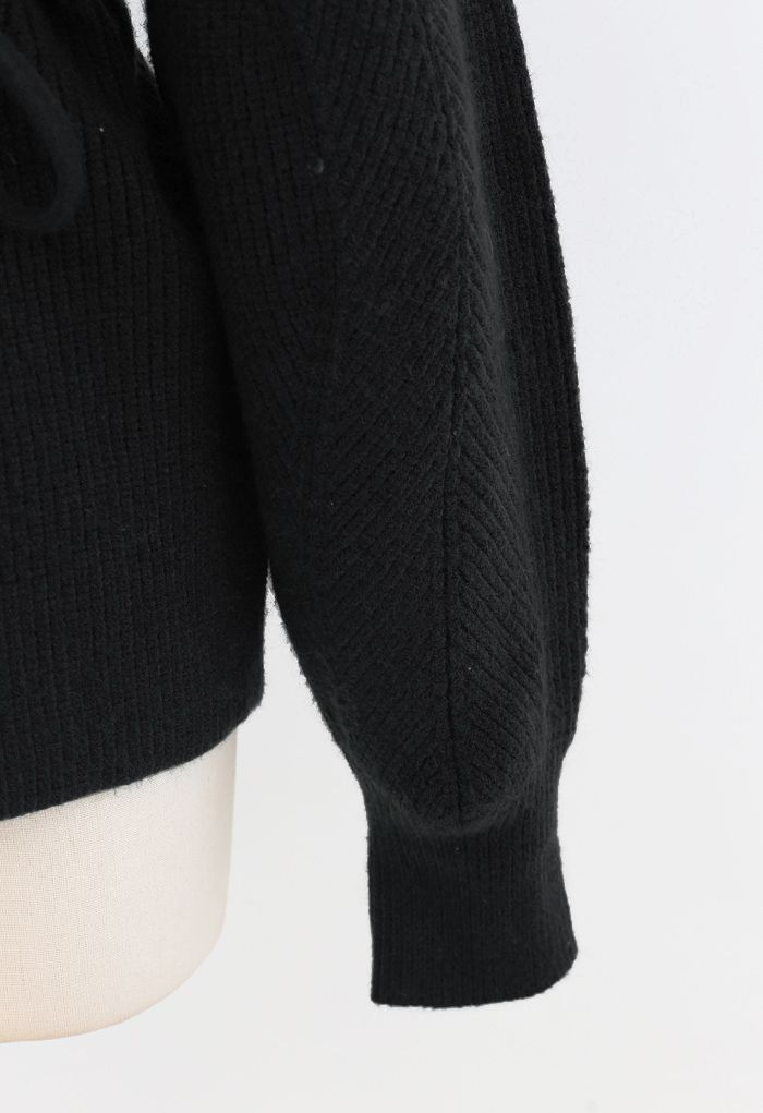 Cozy Ribbed Knit Sweater with String in Black