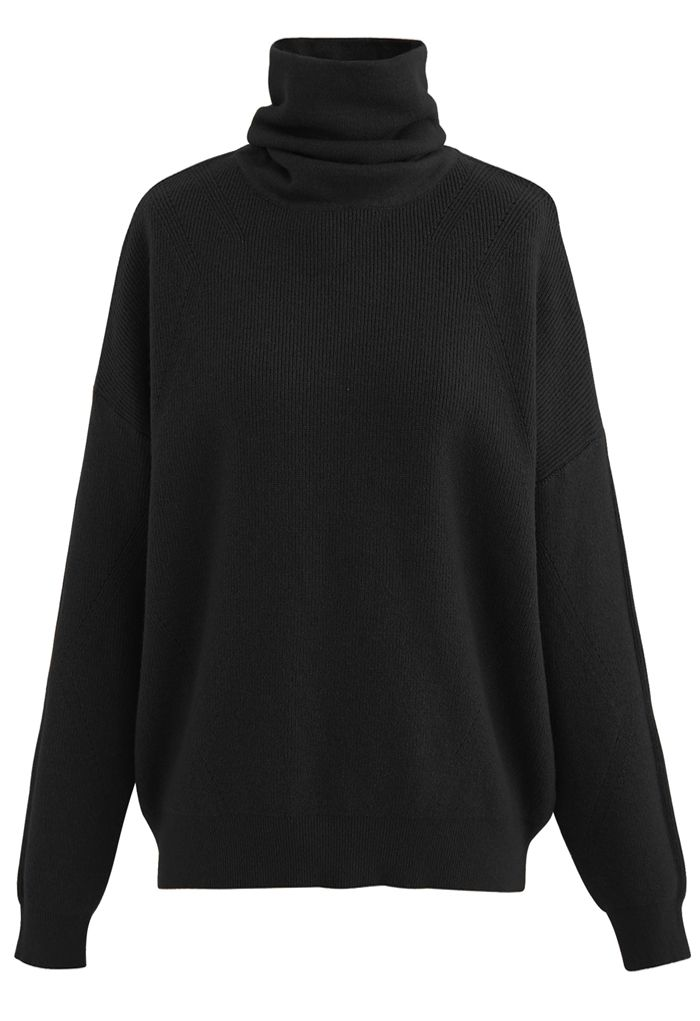 Basic Turtleneck Ribbed Knit Sweater in Black