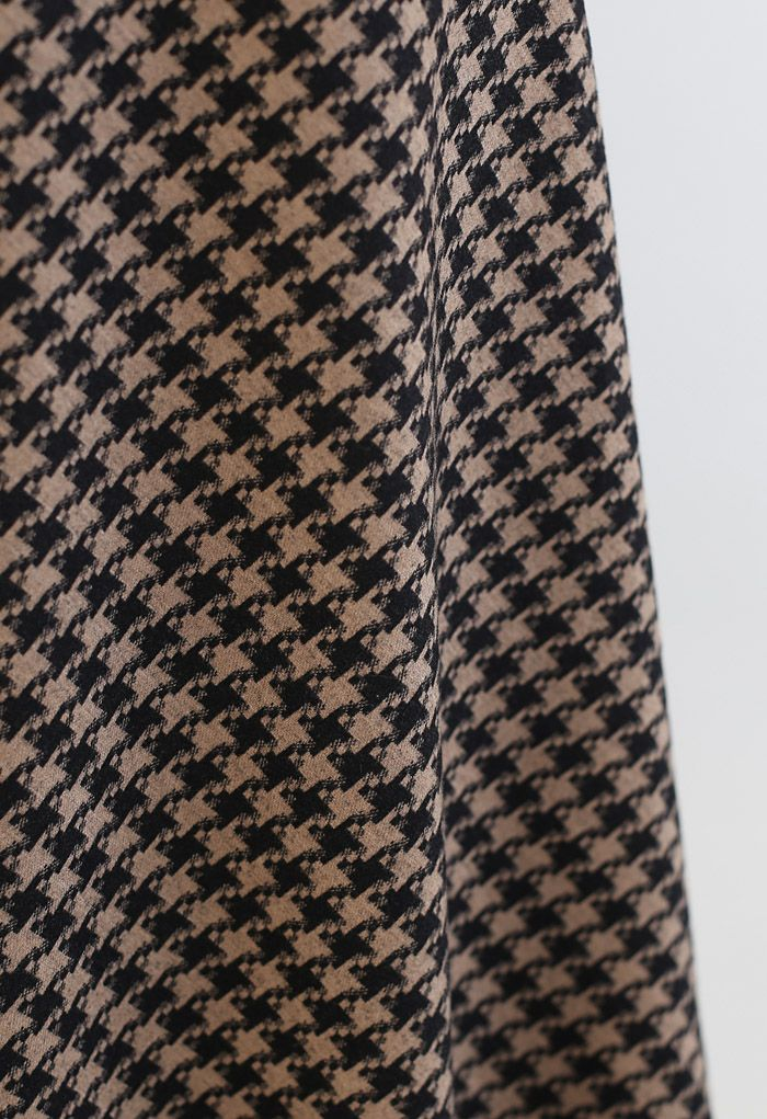 Houndstooth Flare A-Line Midi Skirt in Brown