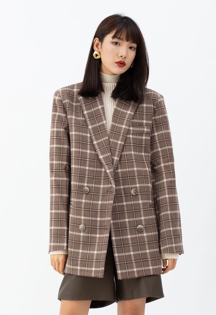 Wool-Blend Plaid Double-Breasted Coat in Brown