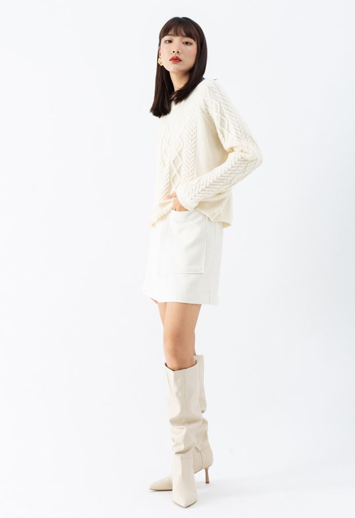 Patched Pocket Shimmer Tweed Mini Skirt in Ivory