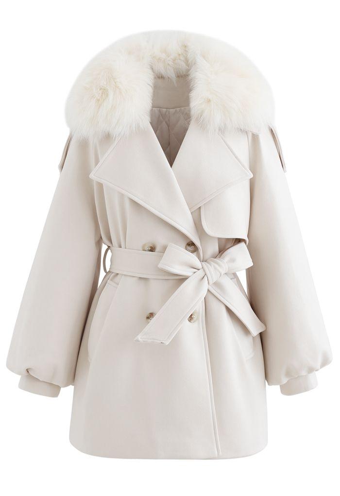 Faux Fur Collar Bubble Sleeves Wool-Blend Coat in Cream