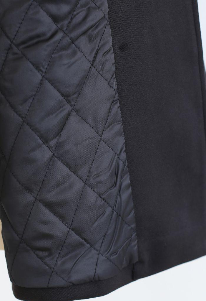 Faux Fur Collar Bubble Sleeves Wool-Blend Coat in Black