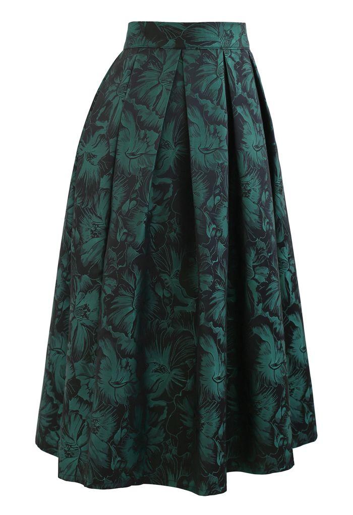Green Peony Jacquard Pleated Midi Skirt