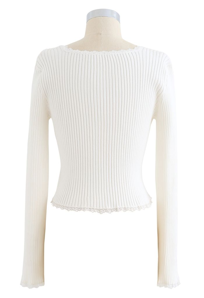 Square Neck Button Decorated Crop Knit Top in White