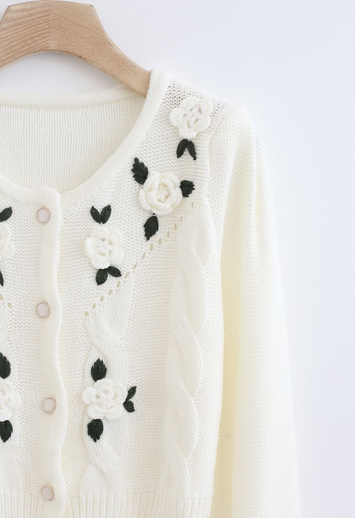 Flower Stitched Buttoned Knit Cardigan in White