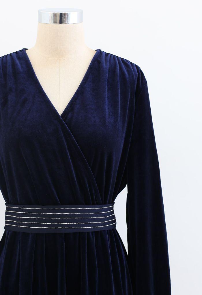 V-Neck Belted Velvet Wrap Dress in Navy