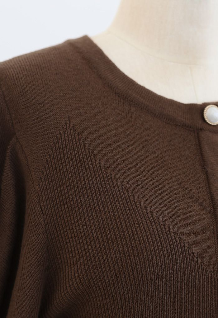 Button Ribbed Puff Sleeve Knit Top in Brown