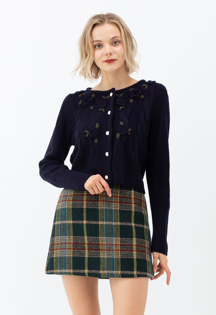 Flower Stitched Buttoned Knit Cardigan in Navy
