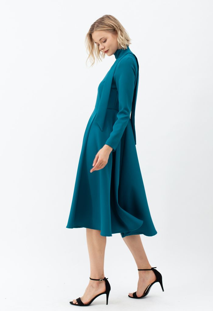 Scarf V-Neck Flare Midi Dress in Peacock