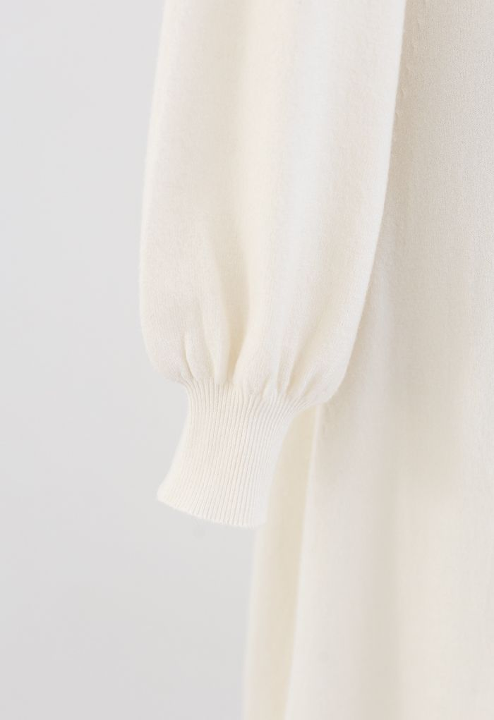 Ruched Buttoned Front Soft Knit Dress in Cream