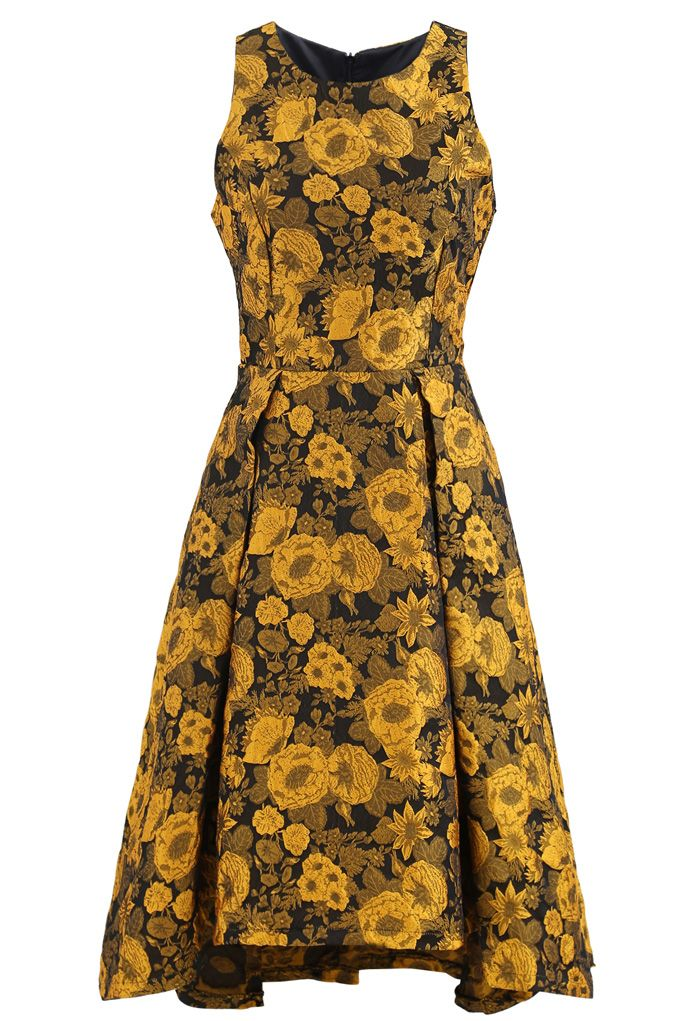 Noble Floral Embossed Jacquard Waterfall Dress