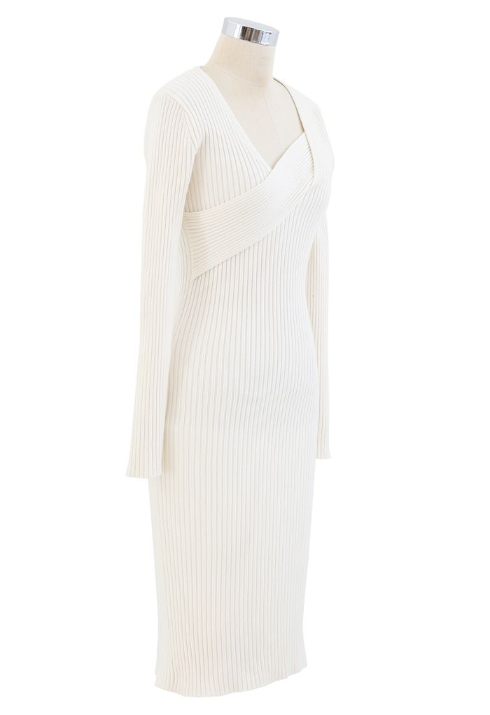 Surplice Wrap Front Ribbed Knit Dress in White