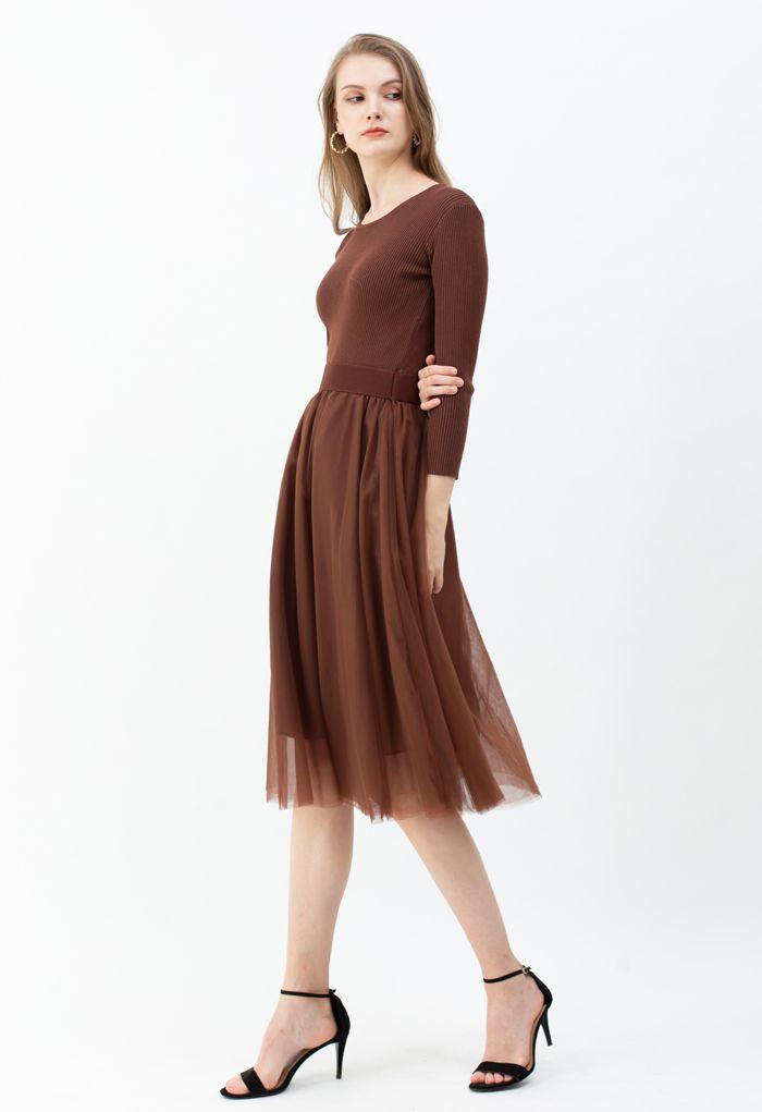 Elasticated Waist Knit Splice Mesh Dress in Brown