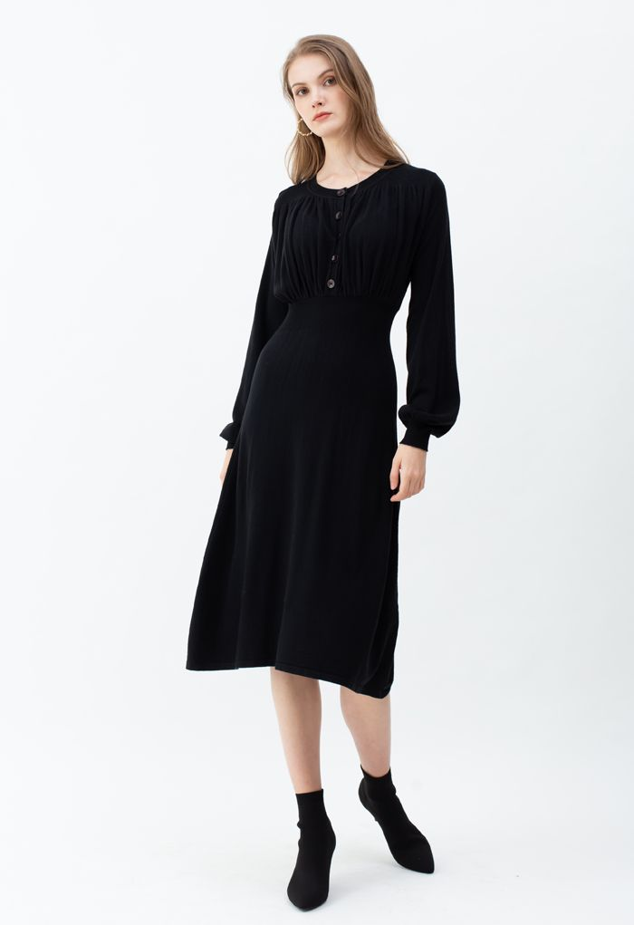 Ruched Buttoned Front Soft Knit Dress in Black