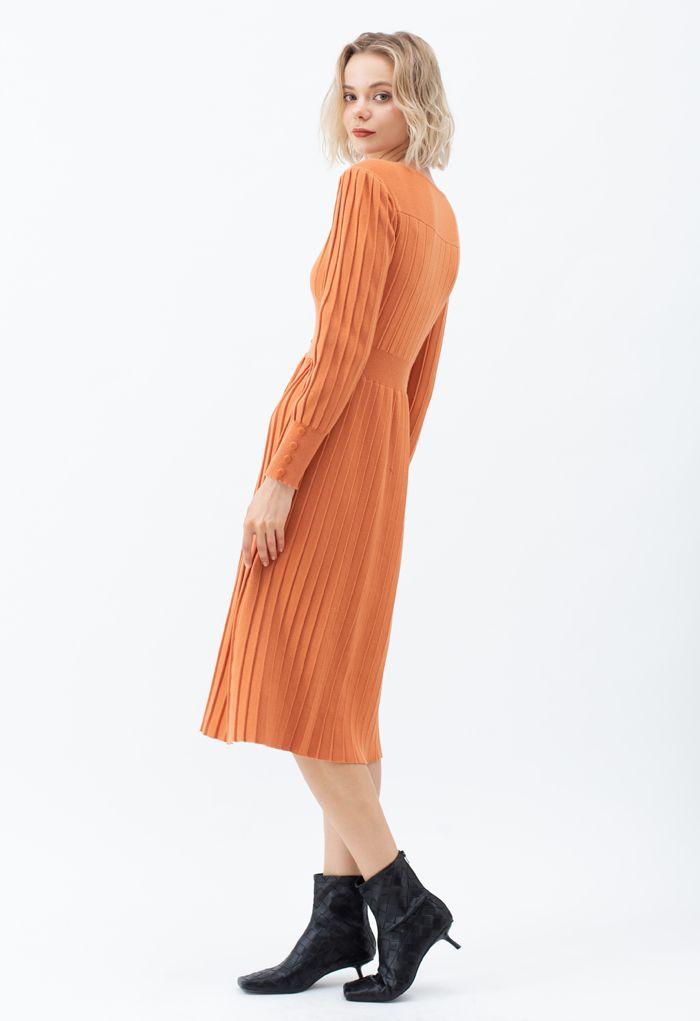Button Decorated Pleated Knit Dress in Orange