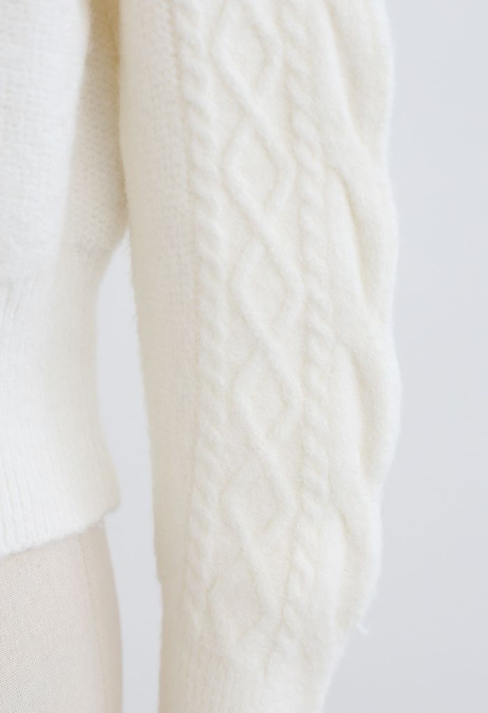 Cropped Square Neck Braid Knit Sweater in White